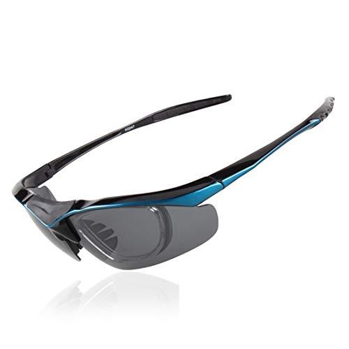 LBWNB Sportsonnenbrillen-CrazyFire UV 400 Schutz Unzerbrechliche Sportgläser Sonnenbrille Anti-UV-Sport-Outdoor-Sonnenmesslampen Reiten Photochromische Radnachrichtenlampen,Blue