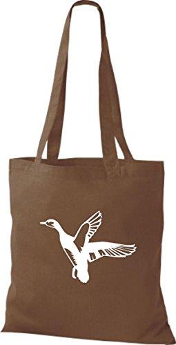 Shirtstown Stoffbeutel Tiere Wildgans, Duck, Ente, Goose Mittelbraun
