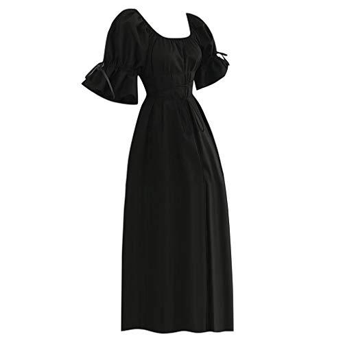 Mymyguoe Knöchellange Kleider Frauen Kurzarm Prinzessin Renaissance Kleid Gerüscht Trompetenärmel Dünne Taille Seil Mittelalter Kleid Gothic Viktorianischen Königin Kostüm Hochzeits Formal ()