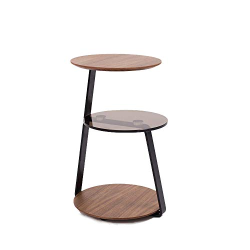 Rivet moderner Beistelltisch mit drei Ablagefächern, Mix aus Nussbaum und Glas -