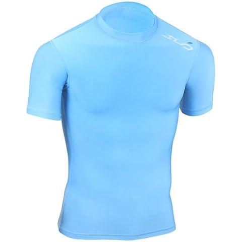 Sub Sports, Maglietta termica di compressione Bambino, Blu (Himmelblau), 128/134 cm