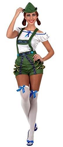 Lederhosen Mädchen Kostüm - Fancy Me Damen Sexy Lederhosen Hot Pants Deutsch Bier Mädchen Oktoberfest Bayern Kostüm Outfit, UK 12-14 (US 8-10), grün
