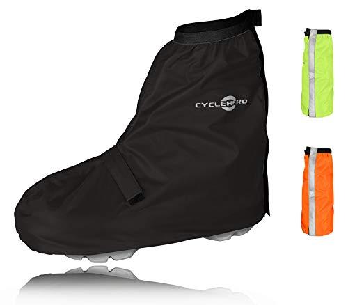 CYCLEHERO Überschuhe Fahrrad (schwarz, 36-39) Regenüberschuh wasserdicht inkl. Reflektor-Streifen, Größenregulierung und Stabiler Lauffläche für Herren und Damen - Regengamaschen Outdoor Unisex