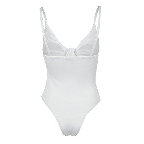 maillots de bain Femmes,Bowknot Solide bikini set 1 pièce Taille élevée Maillots-Lonshell Blanc