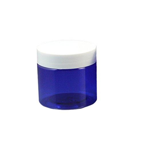 6piezas 50G (de aroma) azul vacío cosméticos Tarros recargables viaje cosméticos maquillaje crema loción máscara muestra Contenedores ollas white lids