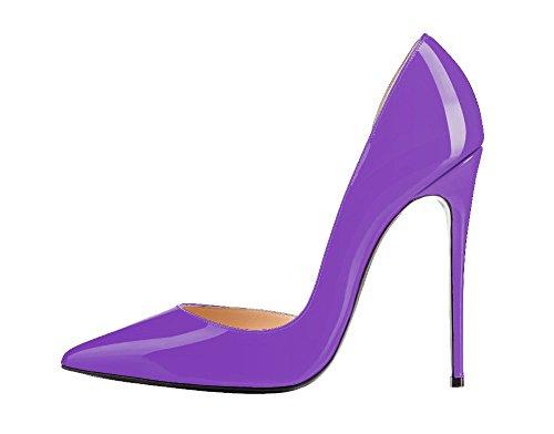 Guoar High Heels Große Größe Damenchuhe D'Orsay&Two-Piece Spitze Zehen Mehrfarbig Stiletto Pumps Büro-Dame Party Hochzeit C-Lila Lackleder