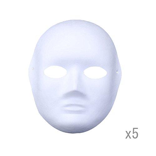 Meimask DIY 5 stücke Weißes Papier Maske Zellstoff Blank Handgemalte Maske Persönlichkeit Kreative Freie Design Maske (Frauen)
