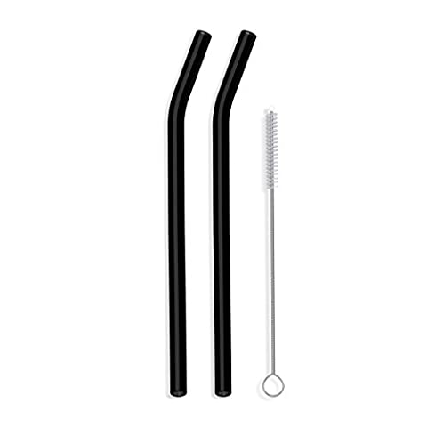 Hummingbird Glass Straws 9 inches x 9.5 mm Bent Reusable Straws (2 Pack of Black)