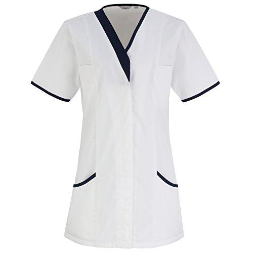 Premier Daisy Damen Arbeitskittel/Schwesternkittel/Arbeitstunika (40DE) (Weiß/Marineblau) -