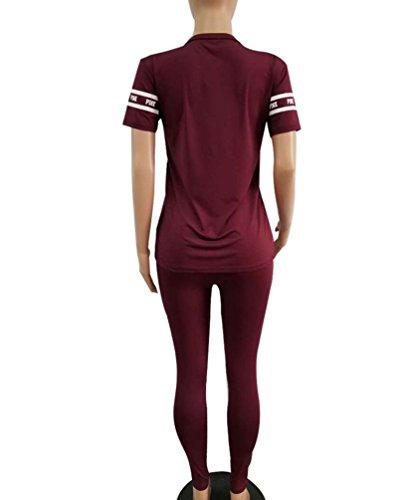 Anguang Donna Tuta Sportiva Set 2 Pezzi V-Collo Manica Corta Casual Pullover Tops Maglietta Stampato Pantaloni Lungo Vino Rosso
