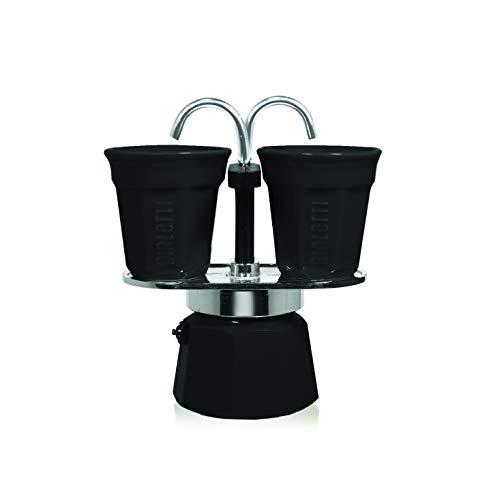 Bialetti Espressokocher Set mit 2 Espressobechern, Aluminium, schwarz, 22 x 8 x 21.5 cm, 3-Einheiten