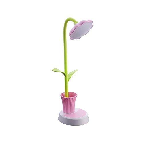 LED Schreibtischlampe mit Stifthalter, Cuitan Faltbar 3 Helligkeitsstufen Dimmbare mit Touchsensor Augenschutz Tischlampe USB Wiederaufladbare Blumen Leselampe Nachttischlampe für Kinder und Erwachsener - Pink