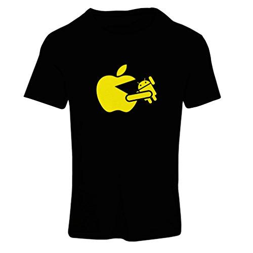 Frauen T-Shirt Lustiger Apfel isst einen Roboter - Geschenk für Tech-Fans (X-Large Schwarz Gelb)