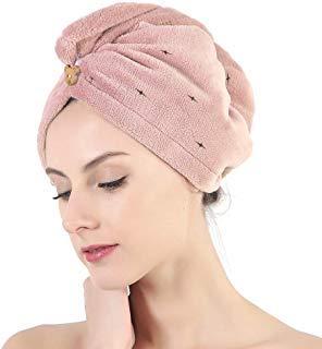 Haartrocken-Handtuch mit Knopf, Mikrofaser-Handtuch für langes Haar, Handtuch für Frauen, rose, 23 cm x 65 cm Rosa Toque