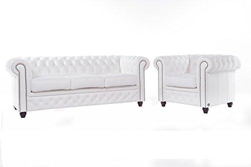 Original Chesterfield Sofa und Sessel – 1 / 3 Sitzer – Vollständig Handgewaschenes Leder – Weiß