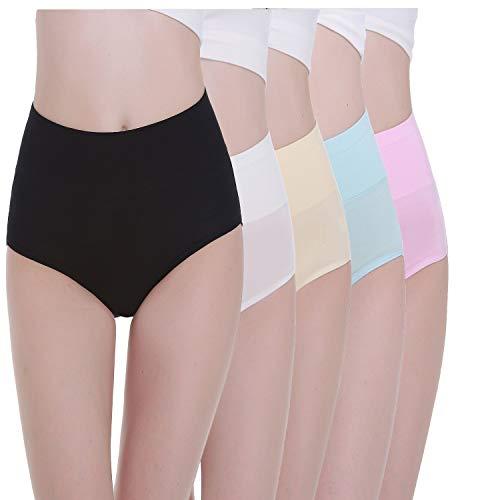 TUUHAW Unterhosen Damen Unterwäsche 5er Pack Slip Miederhose Baumwolle Hoher Taille Atmungsaktive_Mehrfarbig-2_M