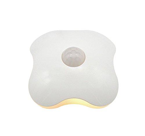QiCheng&LYS LED Körper Sensor Nachtlicht, Vier-Blatt-Form-Körper-Induktions-Lampe ABS Intelligentes LED-Licht für Hallen, Schränke, Auto, Badezimmer, Schlafzimmer und mehr -