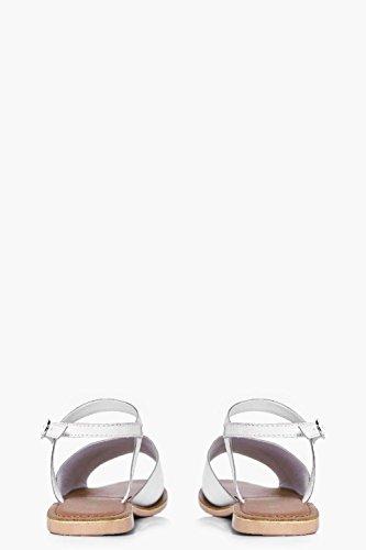 Damen Weiß Violet Flache Pantoletten In Lederoptik Mit Peeptoe Und Knöchelriemchen Weiß
