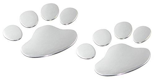 CARSLY 2 x Autoaufkleber und Motorradaufkleber - Sticker, Aufkleber in edlem 3D Chrom-Design, als Tatzen, Pfoten, Klauen wie Hund, Katze, Bär in Silber. Emblem als Autosticker und Motorradsticker (Auto-aufkleber Abnehmbare)