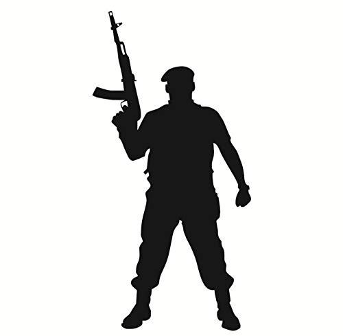 Marine Corps Applique (Kinderzimmer Wandaufkleber Tapferer Soldat Mit Pistole Silhouette Blume Vinyl Applique Marine Corps Militärkrieg Soldat Dekoration29 * 59 Cm)