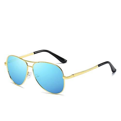 Polarisiertes Licht Chameleon Verfärbung Farbwechsel Herren Sonnenschutzmittel UV400 Metall Brille (Color : Gold+Ice Blue)