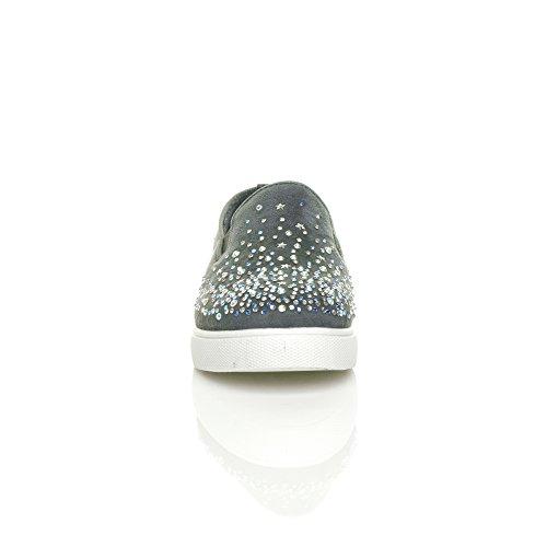 Damen Flach Diamant Juwel Gem Plimsolls Trend Sneaker Turnschuhe Größe Grau