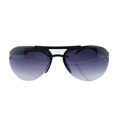HAND R-07 Pilotenbrille mit hydrophoben Reflective Linsen - Breite an Tempeln 136 mm - 100% UV400 Schutz - Rotguss und Black Frame mit violett-Objektive