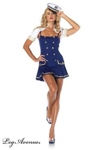 Leg Avenue 83763 - Ship Shape Captain Kostüm, Größe XL, blau/weiß