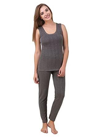 HAP Women's Quilted Thermal Set : Sleeveless Top + Trouser (Dark Grey/Ladies Body Warmer/Female Winter Innerwear)