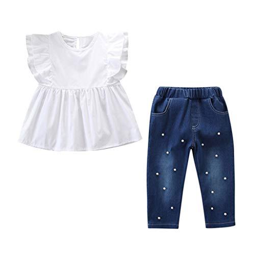 Outfits Kleinkind Mädchen Solide T-Shirt Tops und Perle Denim Hose Jeans Set Perlen-hosen
