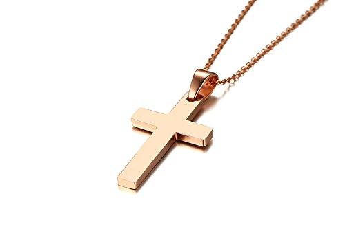Vnox Herren Roségold Plattiert Edelstahl Einfache Kreuz Anhänger Halskette mit 50 cm O Link Panzerkette