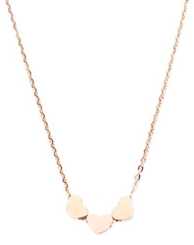 amen Minimalist Kette 3 Herzen in Rosegold | Kette mit Herzanhänger aus Titan mit Rosegold Plattiert nickelfrei (Trio-kostüme Für Frauen)