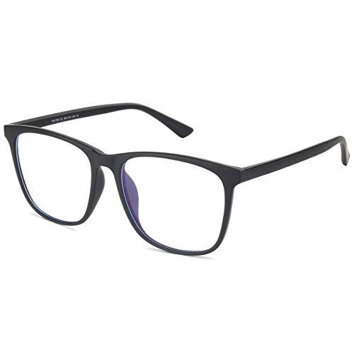 H.Yue Blue Light Blocking Glasses for Computer Use, Anti Eyestrain UV Filter Lens Lightweight Frame Eyeglasses (*Light Black)