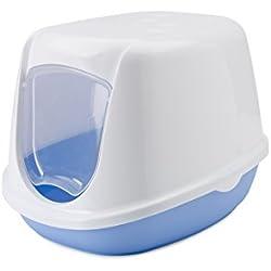 Savic - Caja de arena para gato con puerta, 44x 35x 32cm, blanco-azul