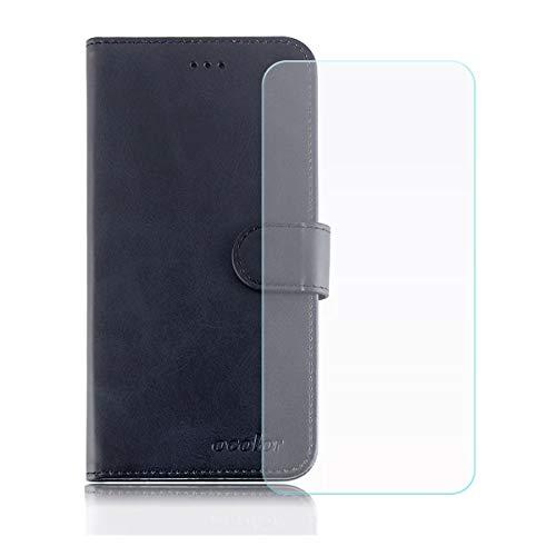 YZKJ Cover für Vernee Apollo Lite Hülle, Flip PU Ledertasche Handyhülle Wallet Tasche Schutzhülle Case mit Card Slot & Ständer + Panzerglas Schutzfolie für Vernee Apollo Lite (5.5