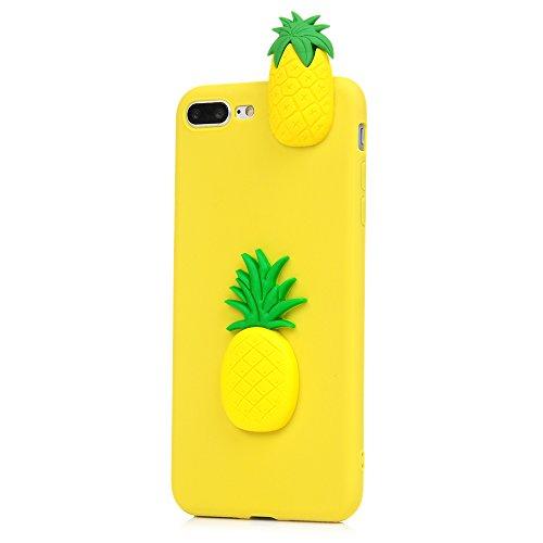 Lanveni Handyhülle für iPhone 8 Plus/7 Plus Hülle Etui Protective Case Cover TPU Silikon Schutzhülle TPU-Bumper Weiche Silikon Case mit Bunte Cover Design (Weißer Panda) Ananas