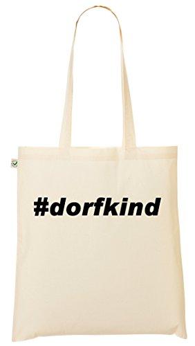 Hashtag Dorfkind Organic Shopper Bag Jutebeutel für Weltverbesserer (Baumwoll-canvas Rucksack Natürliche)