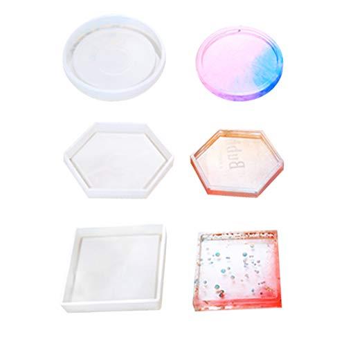 FineInno 3 stücke DIY Silikonharz Coaster Klar Epoxy Casting Formen Set für Tasse Schüssel Matte Resin Silicone Mold (Hexagon/Runde/Platz) -