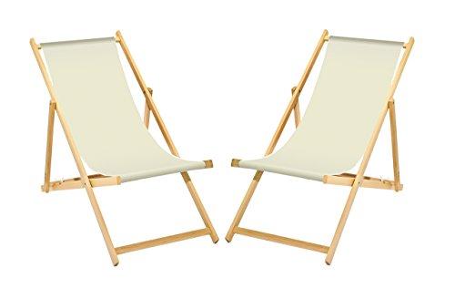 Lot de 2 chaises longues en bois, pliables, sans accoudoirs, avec tissu blanc