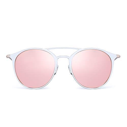 JIM HALO Polarisiert Runde Sonnenbrille für Damen Metall Flieger Spiegel Linsen UV400(Weiß Rahmen/Polarisierte Rosa Spiegellinse)
