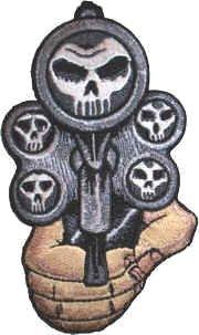 Union Jack Pistolen (Aufnäher, am Iron on Patch Totenkopf Revolver schießen, Gewehr Pistole)