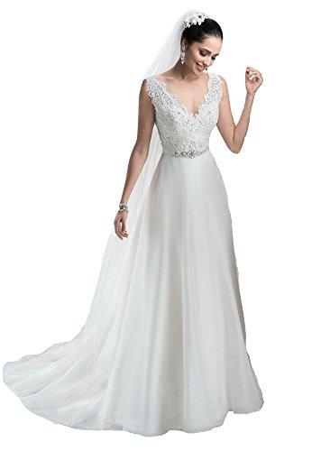 Irendress Frauen tiefem V-Ausschnitt Perlen Spitze Applique Button Chiffon Brautkleid Weiß 50 (Bodenlangen Chiffon-applique)