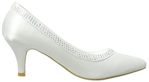 Spot On Diamante Trim 'Wedding' Court, Ballerines et talons femme Blanc - Blanc