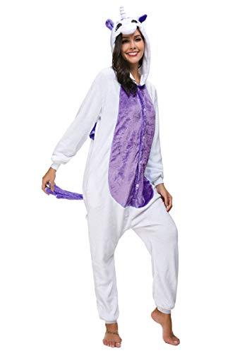 Mescara pigiama cosplay intero unisex animale costume halloween carnevale tuta attrezzatura festa party sleepwear (xl, viola)