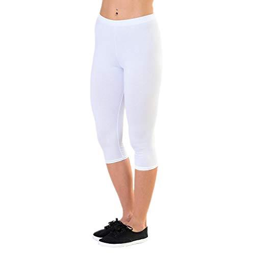 Alkato Damen Leggings 3/4 Capri Blickdicht Stretch, Farbe: Weiß, Größe: 36