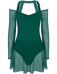 Alvivi Femme Justaucorps Ballet Robe Danse Classique Leotard Gym Yoga  Epaule Nus Robe Maille Manches Longues Fille Body Combinaison… fb962afcda5