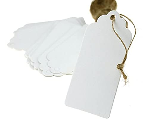 100pcs Papier Kraft Blanc Étiquettes de Prix Soirée Mariage Étiquette