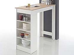 möbelando Bartisch Esstisch Tresentisch Küchentisch Bistrotisch Tisch Rosalyn I Sonoma-Eiche/Weiß