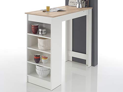 möbelando Bartisch Esstisch Tresentisch Küchentisch Bistrotisch Tisch Rosalyn I Sonoma-Eiche/Weiß -