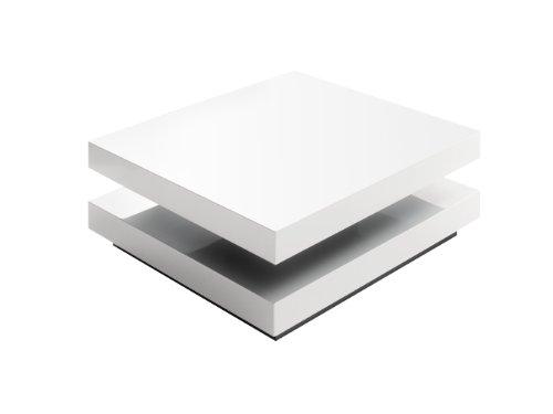 Robas Lund Hugo Tavolino da salotto, piano, girevole, 75 x 75 x 30 cm, Bianco